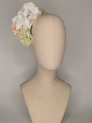 White hydrangea with pale sage chrysanthemums and pink millinery
