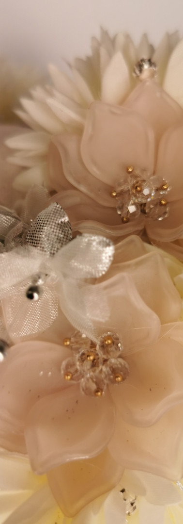 Frosted white hydrangeas with silver