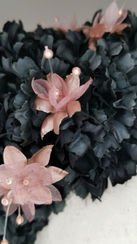 Pink metallic dahlias, matching milliner