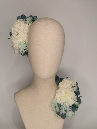 Multi tonal sage hydrangea with ivory carnations and mint millinery