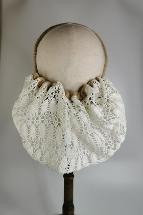 Ivory crochet effect half snood with champagne velvet