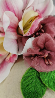Pink orchid, vintage puce hibiscus