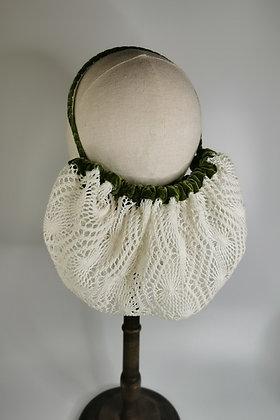 Ivory crochet effect half snood with moss velvet