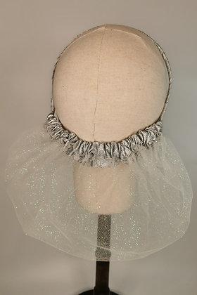 Glitter mesh netting half snood with silver glitter trim half snood