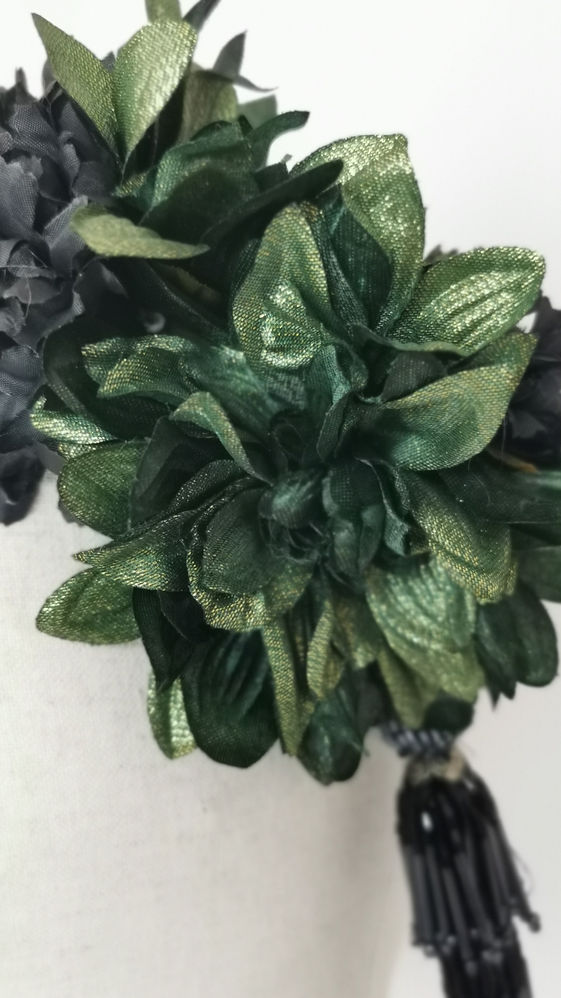Pair of metallic Green dahlias, black ca