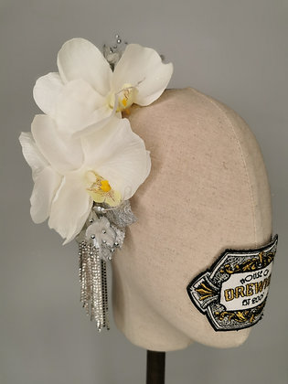 White orchids with diamante fringing
