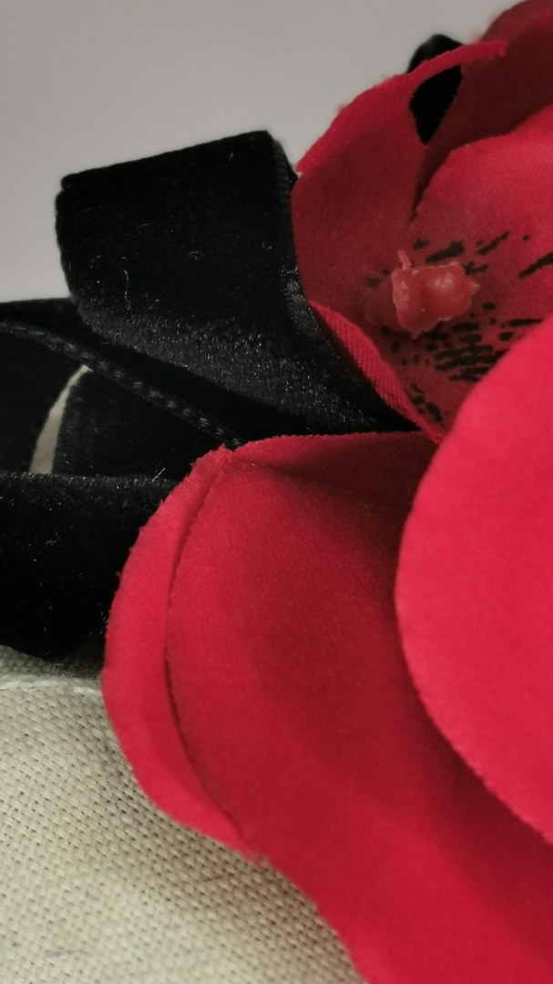 Blood Red orchid with black velvet ribbon