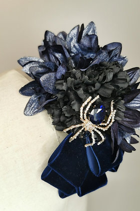 Navy metallic dahlias, black carnation and navy velvet ribbon