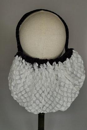 White polka dot lace half snood with plum velvet