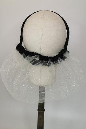 White glitter mesh with black velvet trim half snood