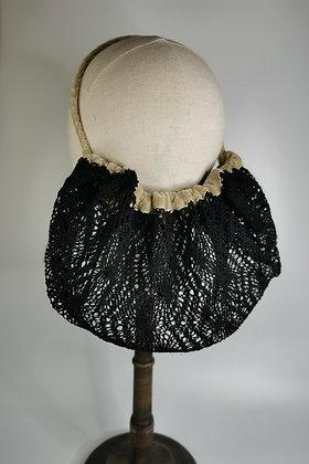 Black crochet effect half snood with champagne velvet
