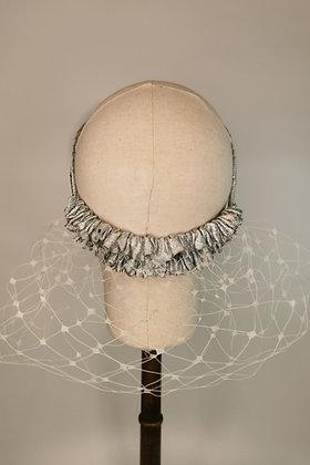 White merry widow netting half snood with silver glitter trim