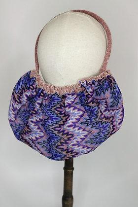 Chevron effect crochet half snood with dusky rose velvet