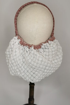 White polka dot lace half snood with dusky rose velvet