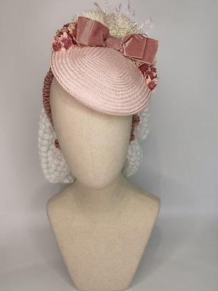 Dusky pink straw tilt hat, ivory chrysanthemums pink astranita dusky rose velvet
