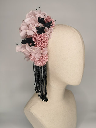 Lilac hydrangea and chrysanthemums black millinery