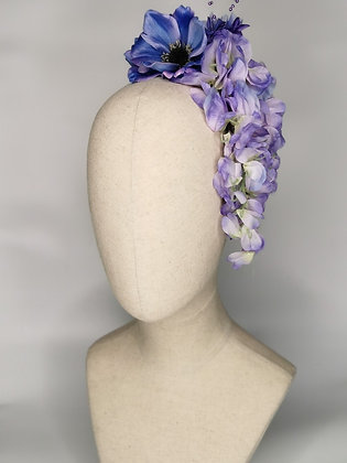 Purple anemone with wisteria and matching millinery flowers hair cascade