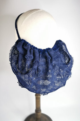 Navy fringe half snood with matching velvet