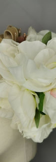 White Peony with mini puce hibiscus and beige velvet ribbon