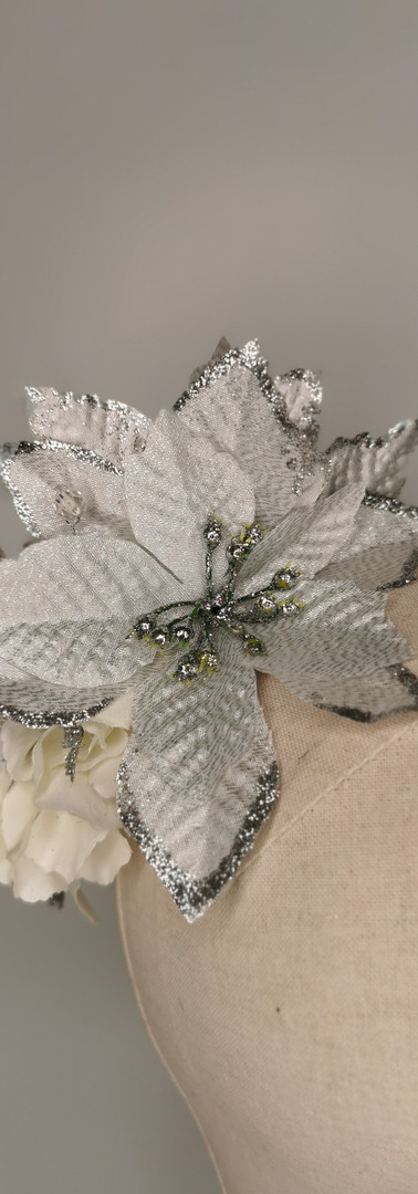 Silver ponsietta with white hydrangea