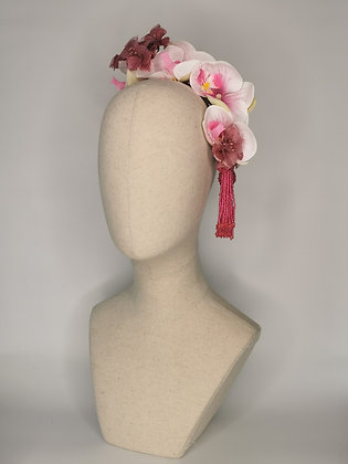 Pink and white orchids with dusky lilac mini hibiscus millinery flowers