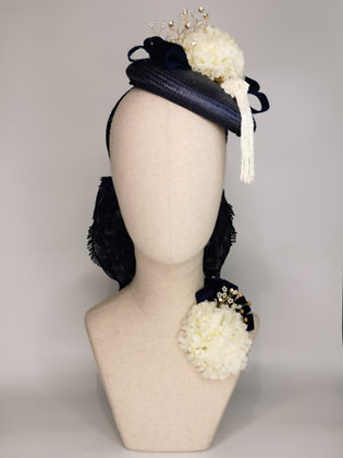 Navy straw tilt hat with ivory Carnations, gold wired pearl and diamantes