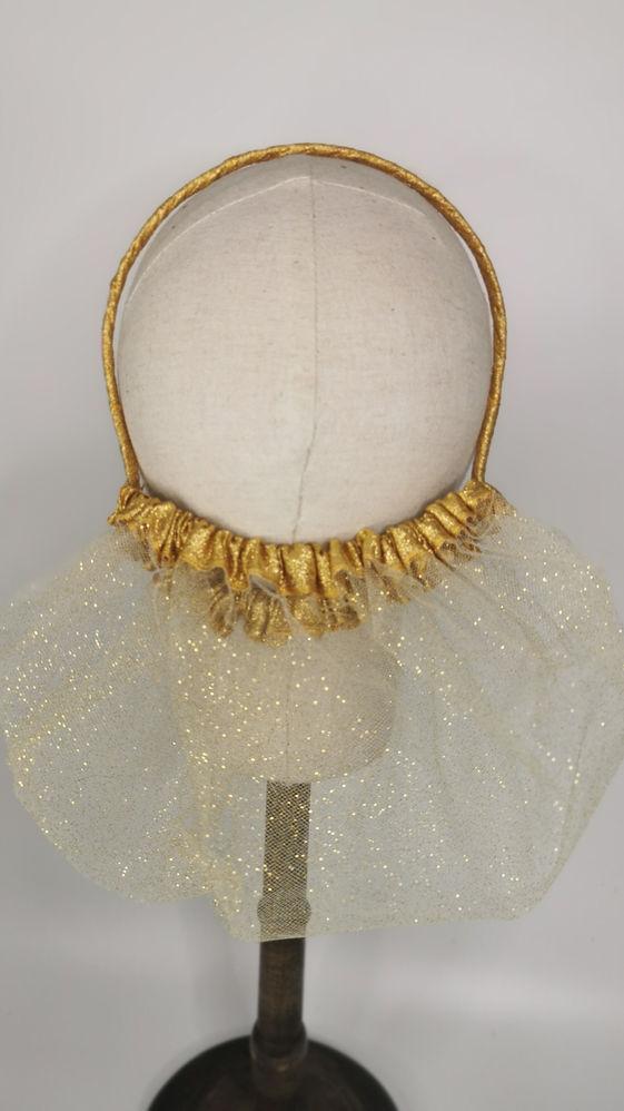 Gold glitter mesh and metallic gold trim