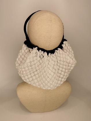White polkadot lace half snood with black velvet trim and headband