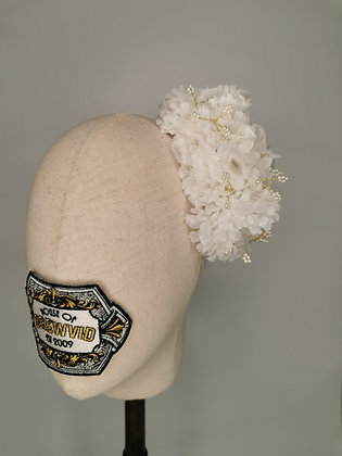White carnations with gold wired clover bead pearls