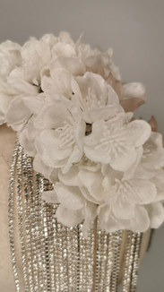 Frosted white hydrangeas with silver mil