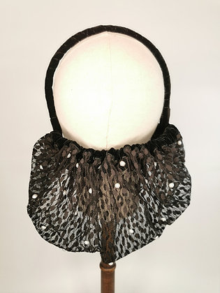 Black polkadot lace half snood with pearls and matching velvet trim
