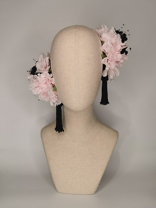 Baby pink dahlias with black millinery flowers and beaded tassel twin set