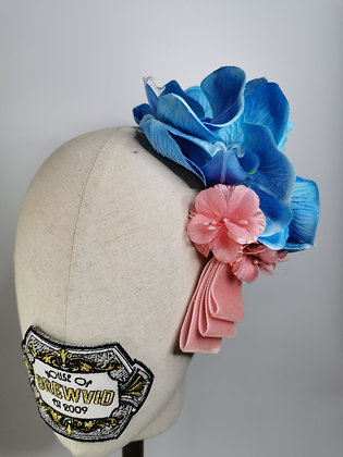 Tropical blue orchid with pink mini silk hibiscus