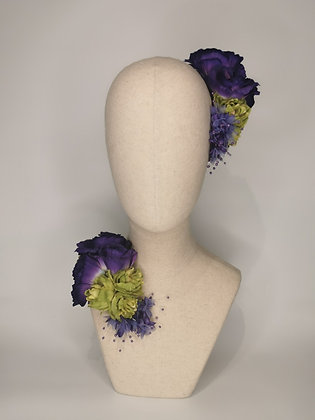 Purple rose and green hops with millinery pearlised baby's breath twin set