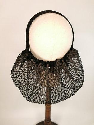Black polkadot lace half snood with diamanté