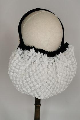 White polka dot lace half snood with black velvet