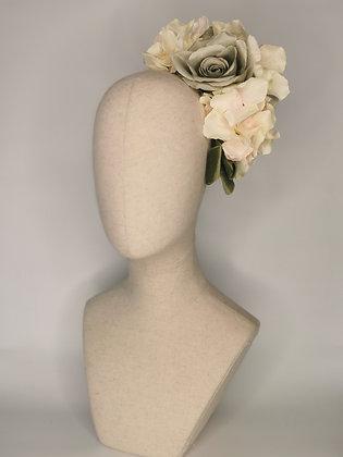 Sage rose and blush multi-tonal hydrangea with moss velvet ribbon