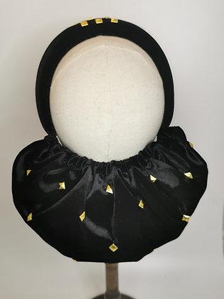 Nurse Ratched inspired black velvet and gold studded half snood