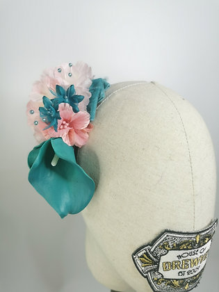 Teal calla lilly with blush cherry blossom