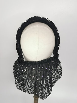 Plaited black velvet and lace half snood with clear diamante