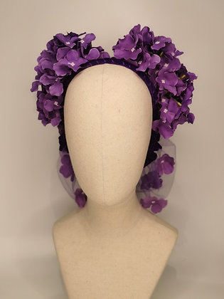 Eve Arden in Cover girl inspired purple hydrangea twin set