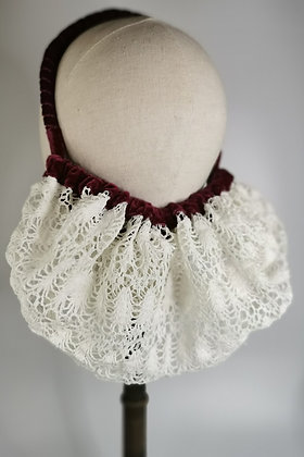 Ivory crochet effect half snood with bordeaux velvet