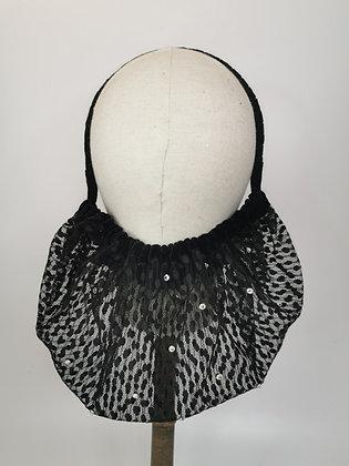 Black lace and diamante half snood with velvet trim