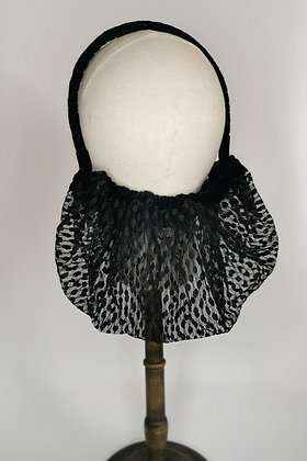 Black polka dot lace half snood with matching velvet