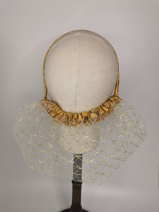 Gold detail mesh with metallic gold trim half snood