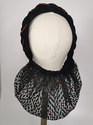 Plaited velvet and black lace half snood with red diamante