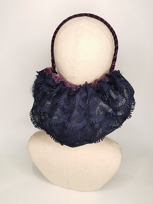 Navy fringe half snood with plum velvet trim and headband