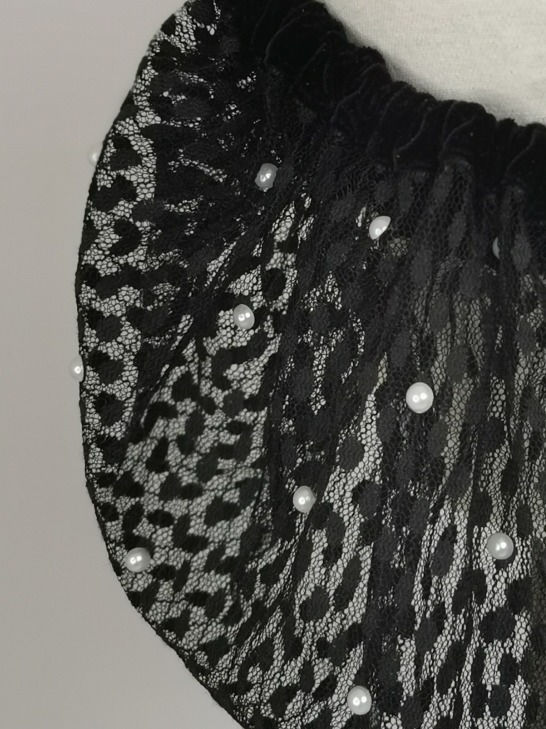 Black velvet and lace with pearls half s