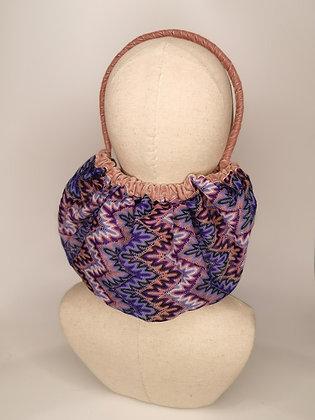 Multitonal chevron knit half snood with dusky rose velvet trim and headband