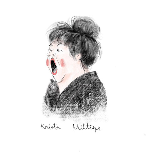 Fast sketch with a woman in a coffee shop who were yawning all the time.